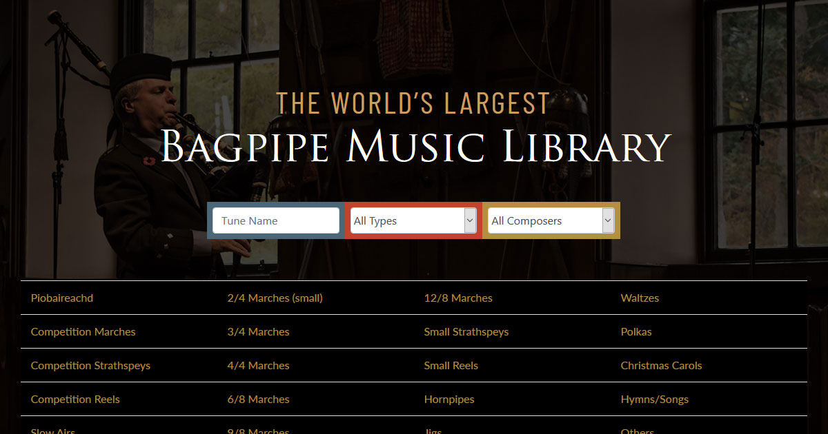 Bagpipe Music - Tunes Download, Recordings and Sheet Music